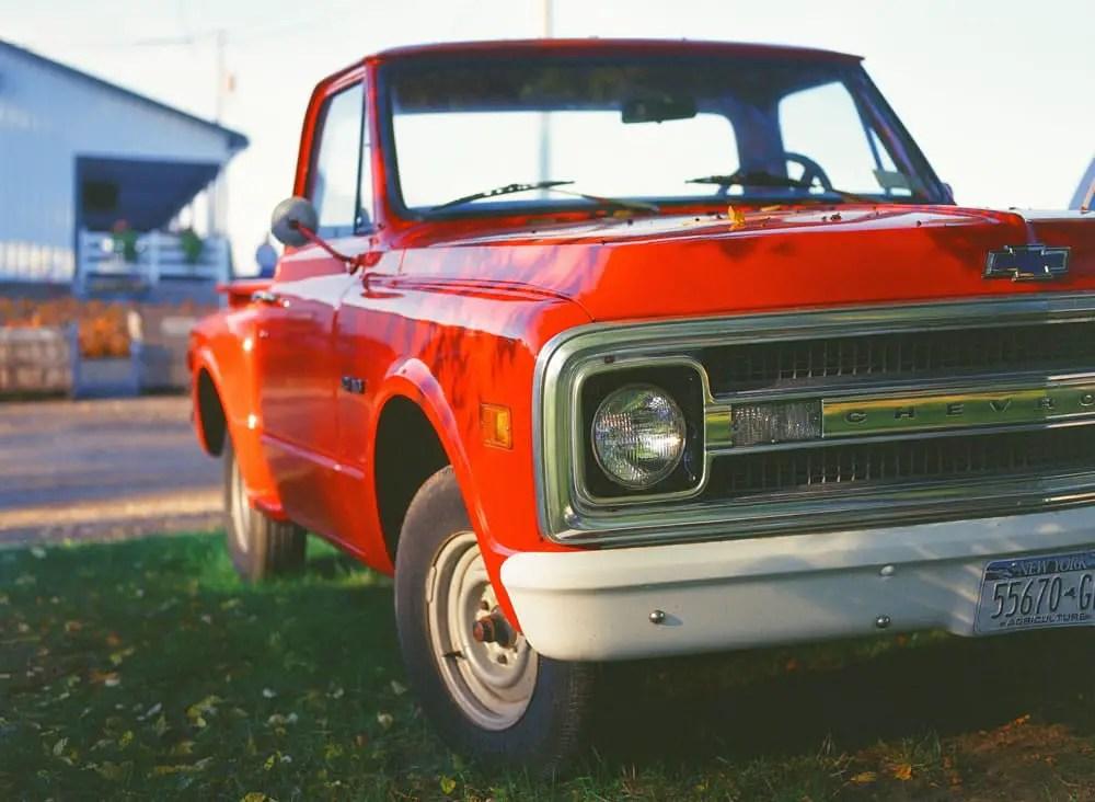 Orange Chevy on KODAK EKTACHROME 100VS