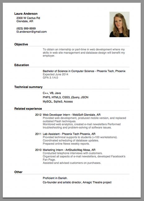 cv format job interview