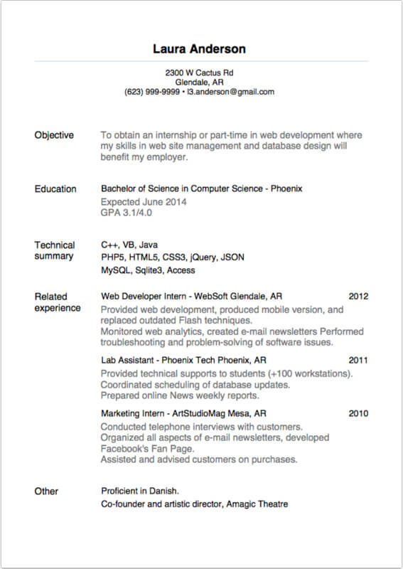 Resume Writing For An Internship - Internship Resume Example