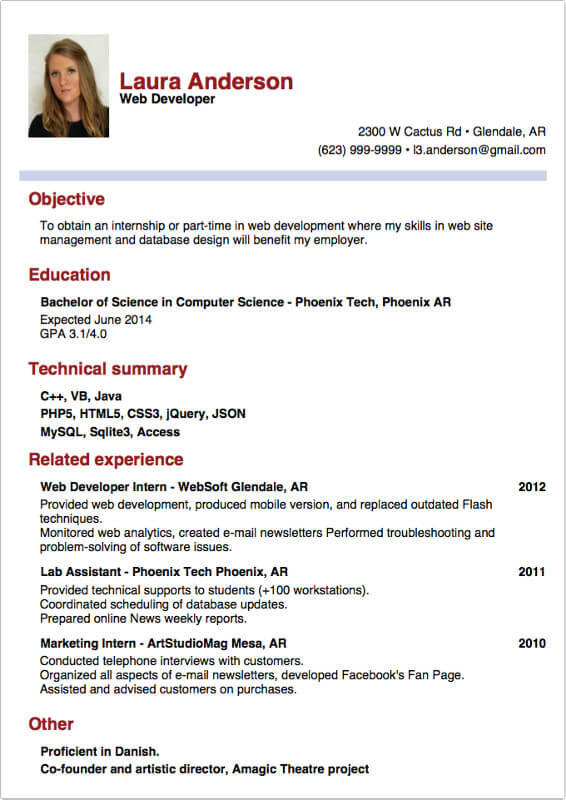 internship sample resume 29042017