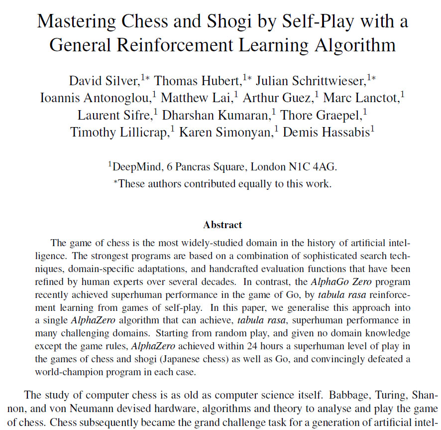 The future is here \u2013 AlphaZero learns chess ChessBase - running title scientific paper