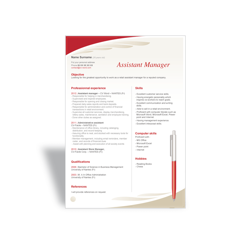cv assitante manager modele