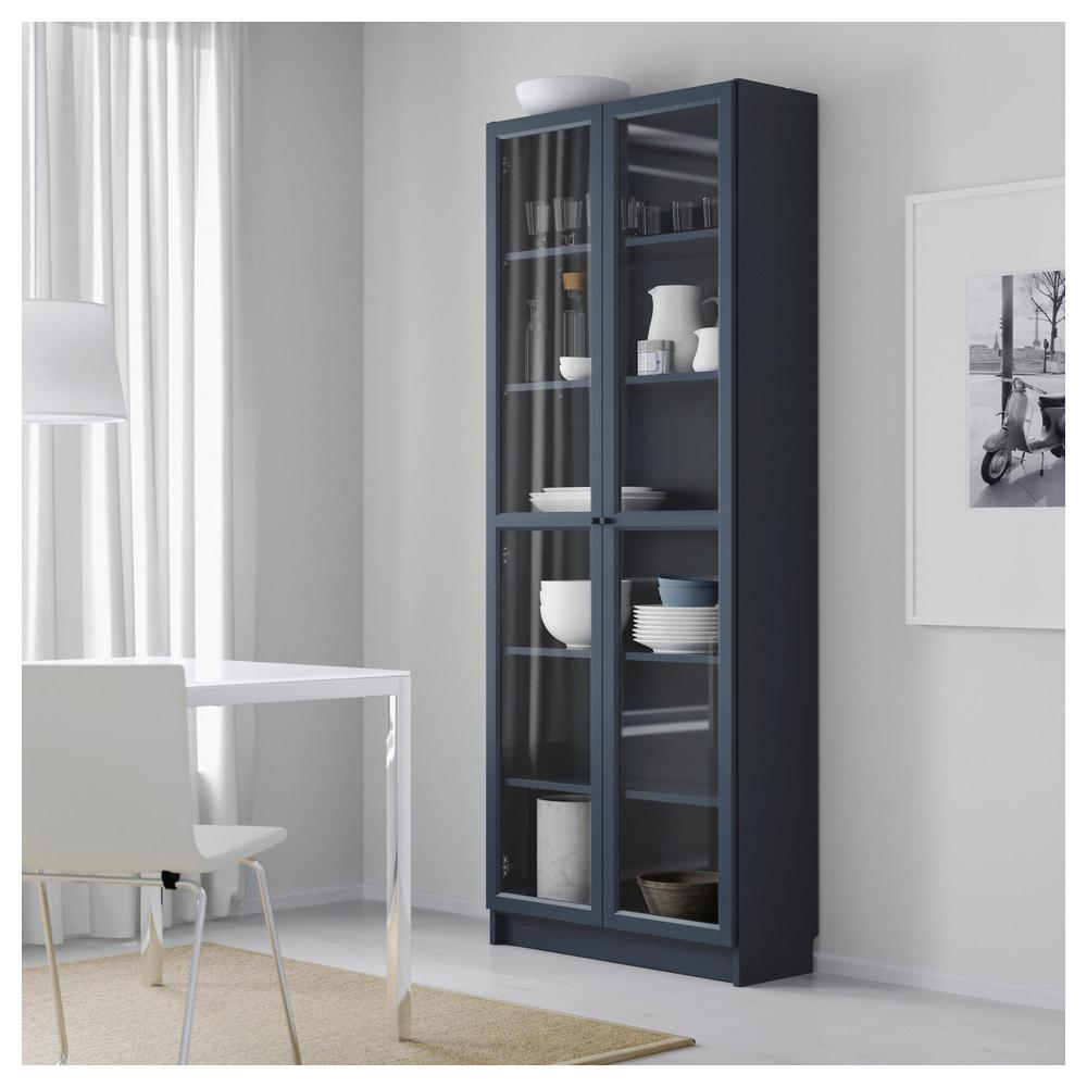 Billy Ikea Dimensions Billy Bookcase With Glass Doors Dark Blue