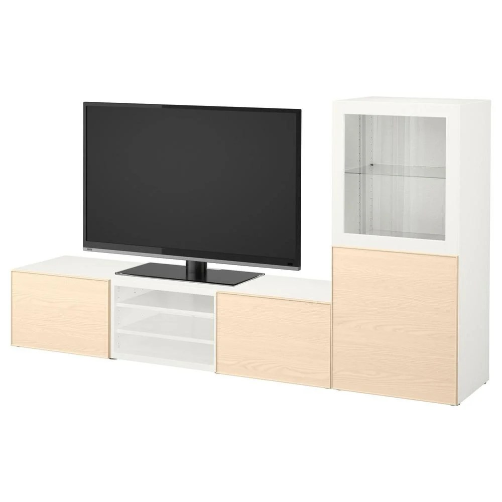 Besta Tv Besta Tv Cabinet Combination Glass Doors White Inviken Ash Veneer Clear Glass Drawer Guides Smoothly Closed