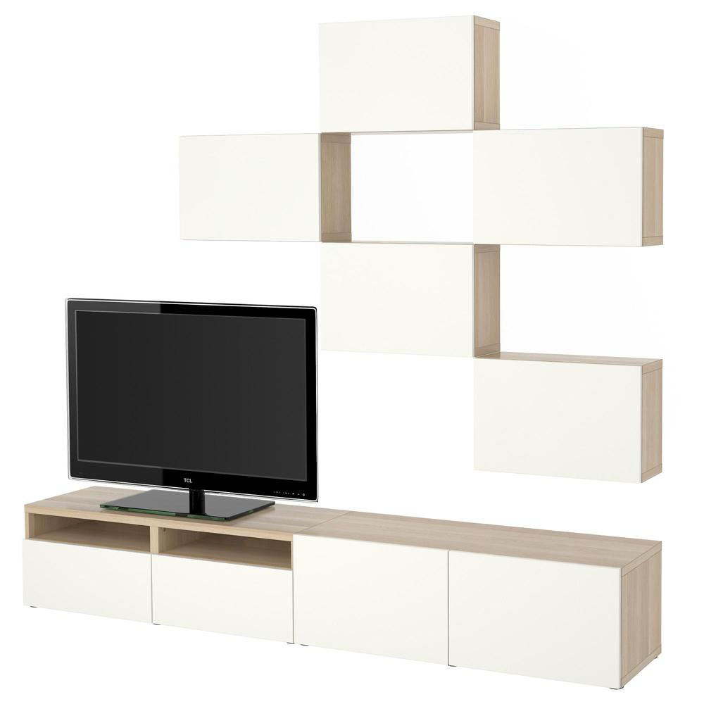 Besta Tv BestÅ Tv Cabinet A Combination A Bleached Oak Lappviken White Box Rails Smoothly Close