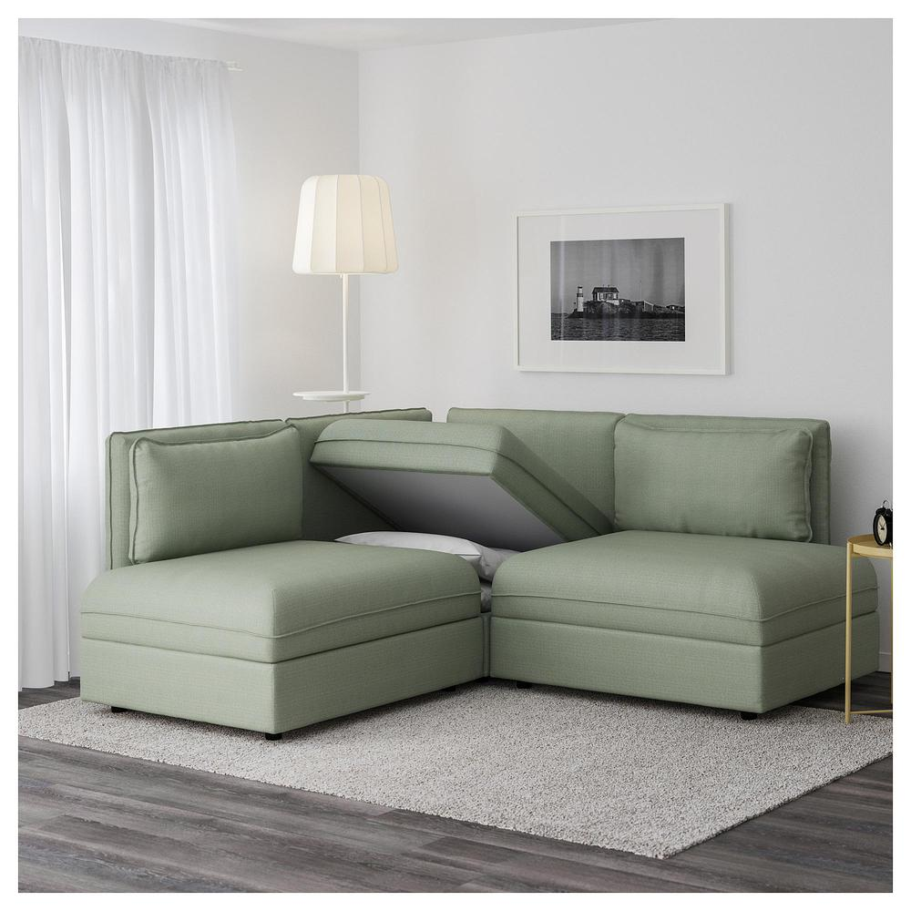 Vallentuna 4 Seat Modular Sofa With 3 Beds Vallentuna 3 Local Corner Sofa Bed Hillared Green Hillared Green