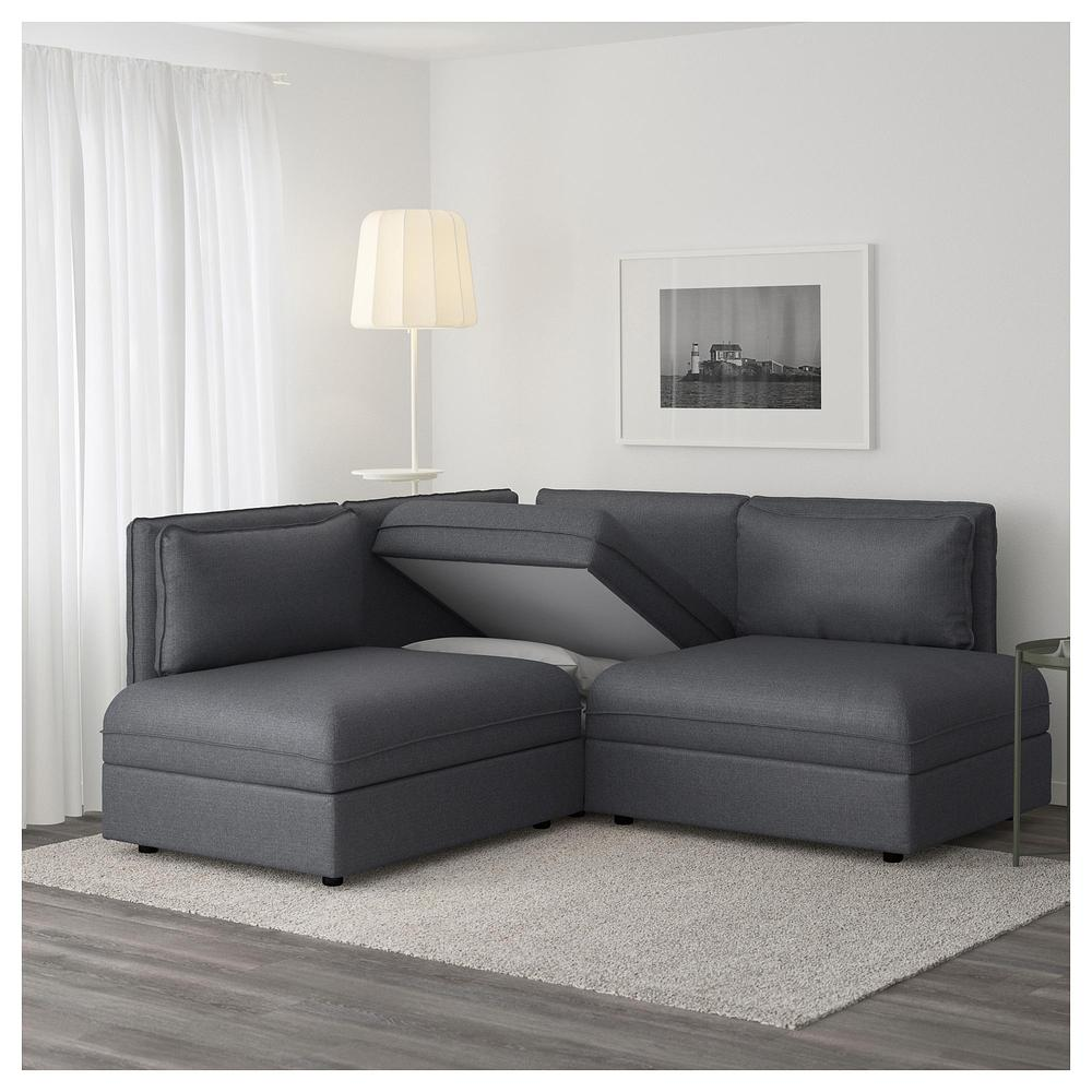 Vallentuna 4 Seat Modular Sofa With 3 Beds Vallentuna 3 Local Corner Sofa Bed Hillared Dark Gray Hillared Dark Gray