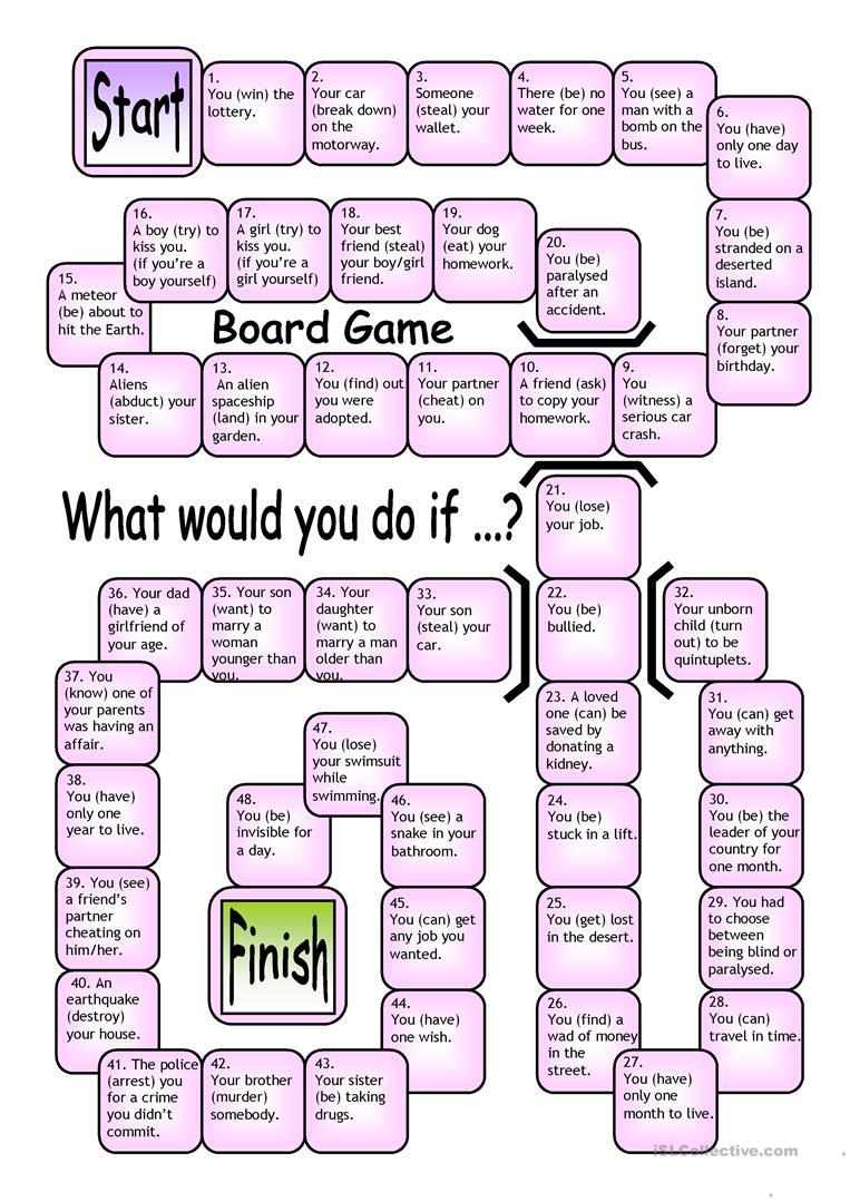 Esl Games Board Game What Would You Do If Worksheet Free Esl