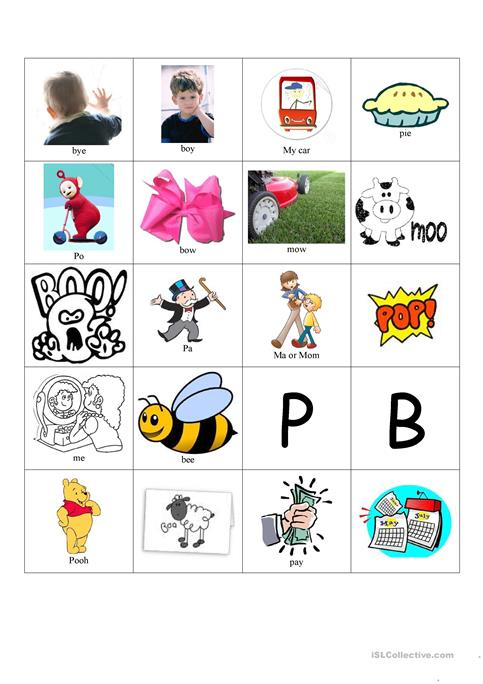 CV words promoting lip closure worksheet - Free ESL printable