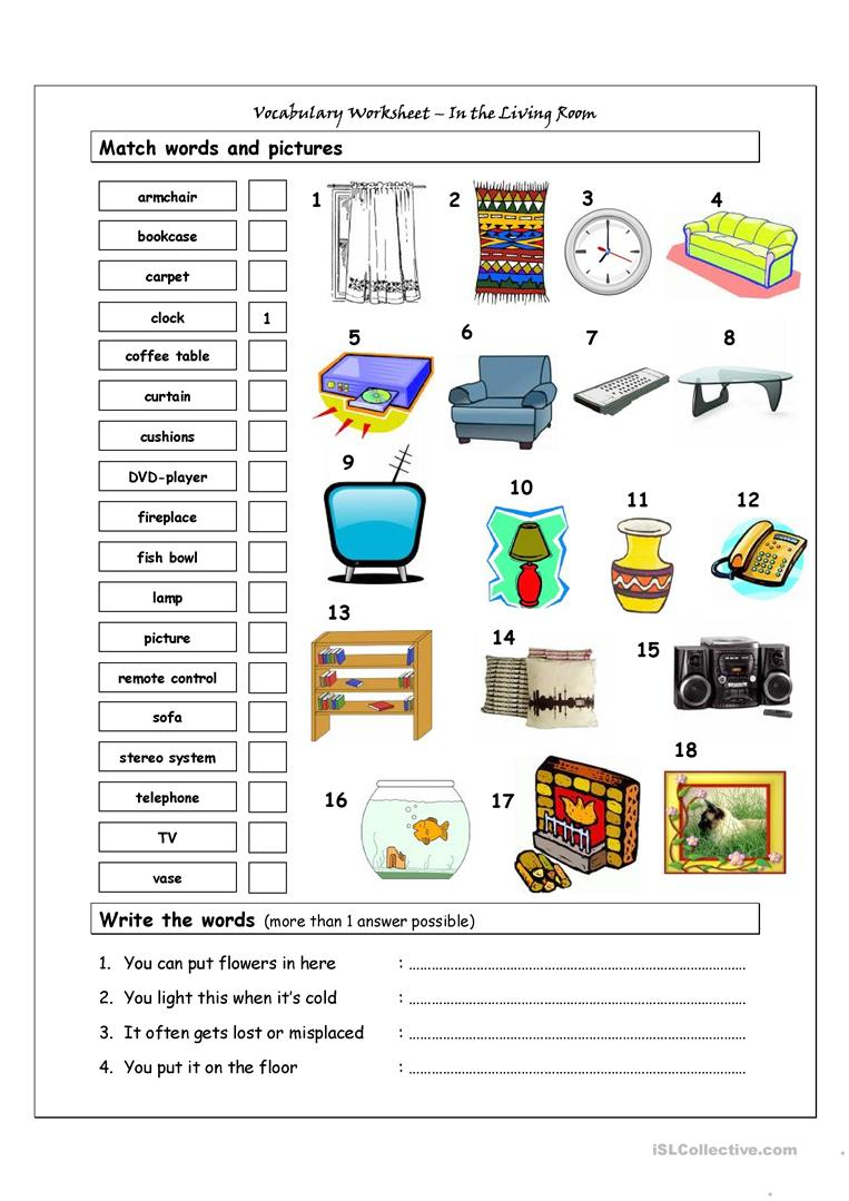 Vocabulary Matching Worksheet In The Living Room Download
