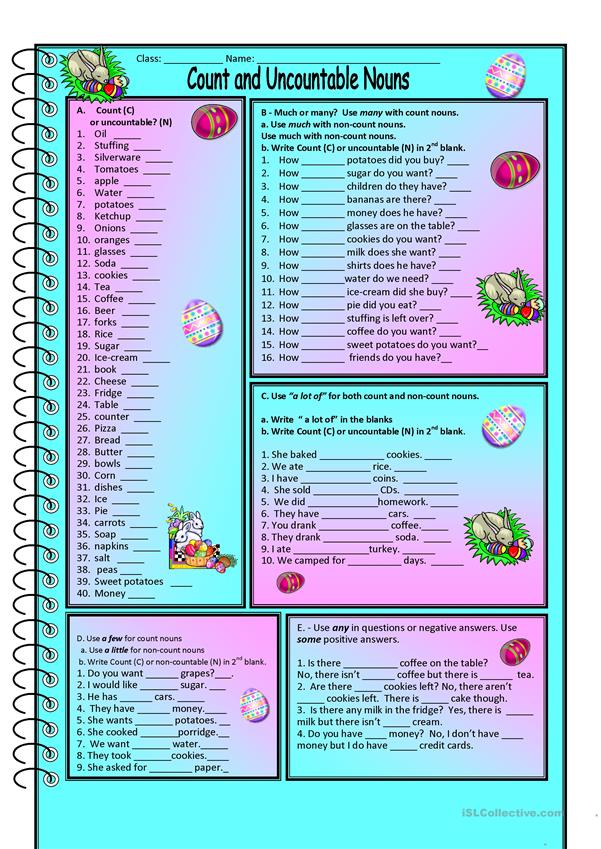 Count and Noncount nouns worksheet - Free ESL printable worksheets