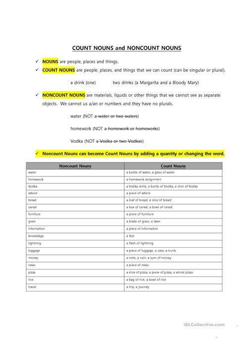 Count and Noncount Nouns worksheet - Free ESL printable worksheets - count and noncount nouns esl