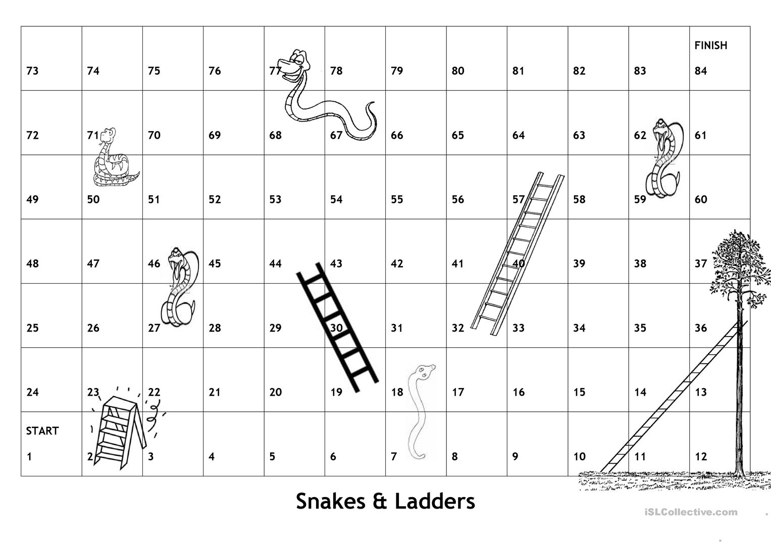 Board Game Snakes Ladders With English Game