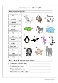 Free Esl Wild Animals Worksheets Animal Habitat Matching ...