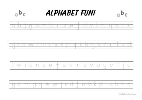 Alphabet writing practice worksheet - Free ESL printable worksheets