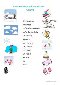 Winter matching worksheet worksheet - Free ESL printable ...