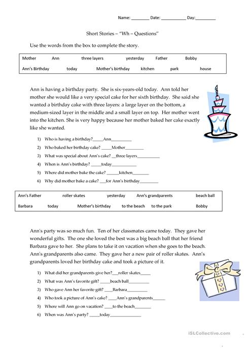 Short Stories Wh-questions - answers worksheet - Free ESL printable