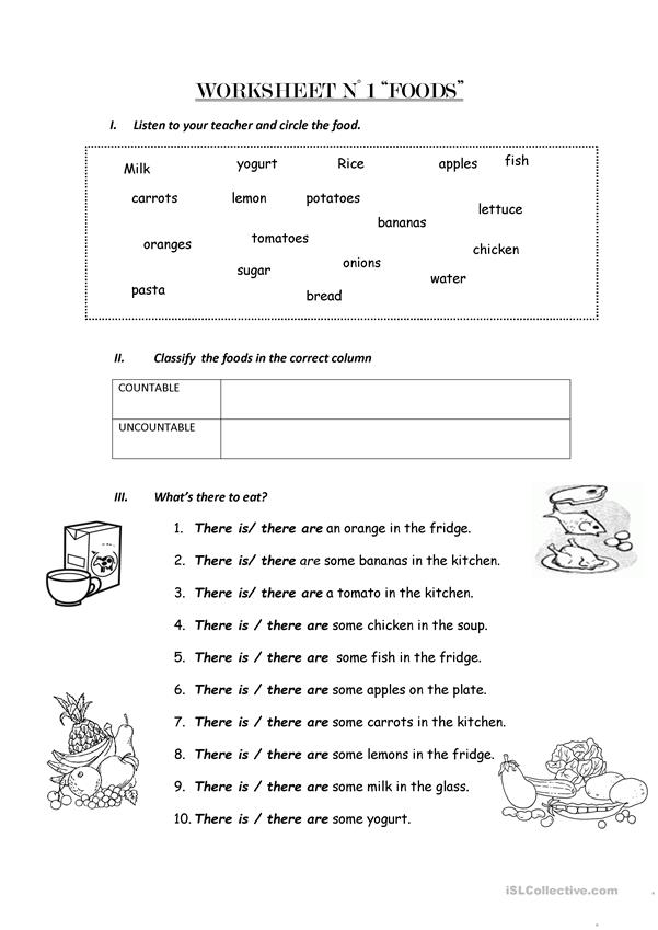Count and non count nouns worksheet - Free ESL printable worksheets