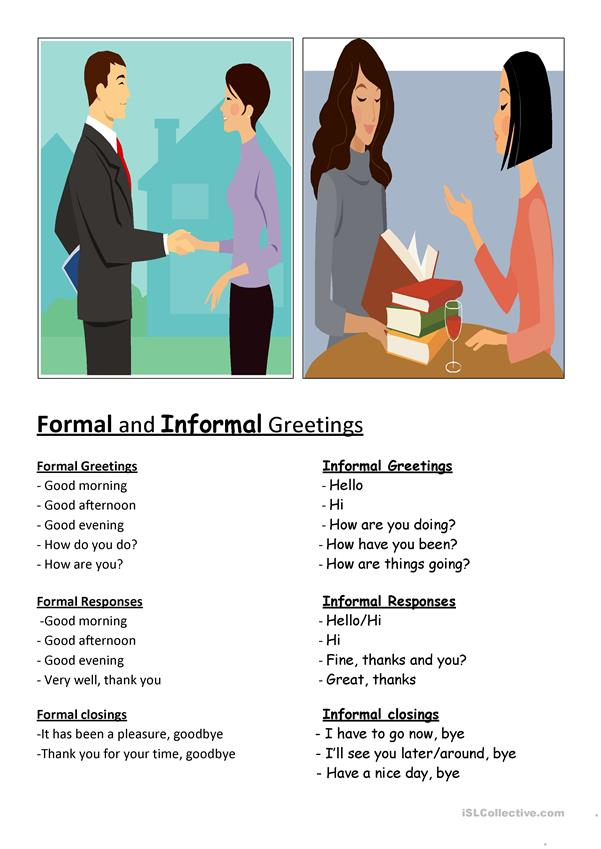 Formal  informal greetings worksheet - Free ESL printable