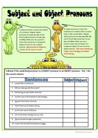SUBJECT AND OBJECT PRONOUNS worksheet - Free ESL printable ...