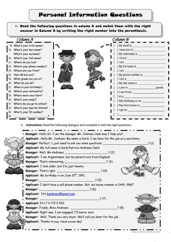 Personal Information worksheet - Free ESL printable worksheets made