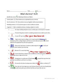 Comma Splice Worksheets - Calleveryonedaveday