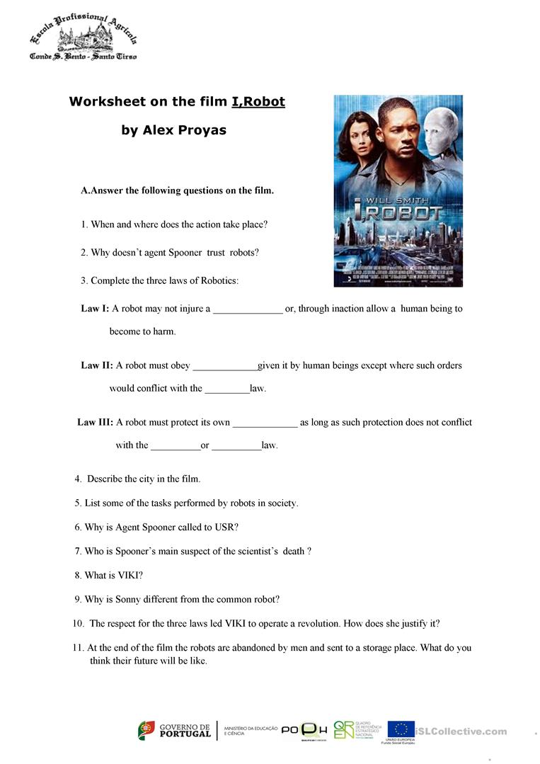 I Robot Worksheet On The Film I Robot Worksheet Free Esl Printable