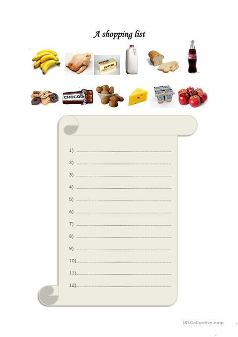 A shopping list worksheet - Free ESL printable worksheets made by