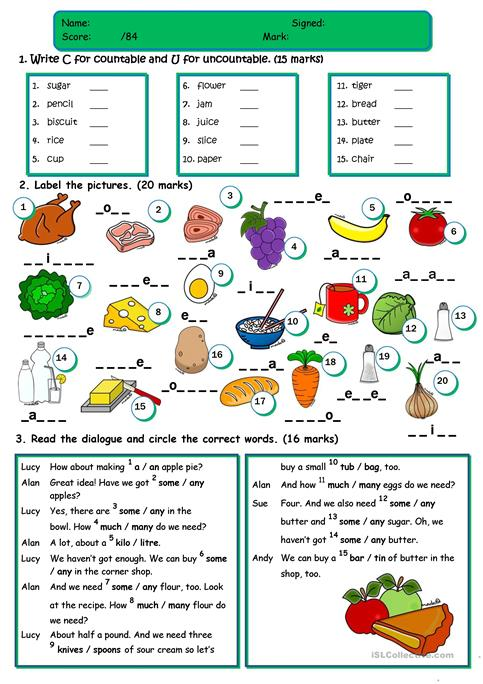 Food - TEST *countable/uncountable;a/an/some/any;food vocabulary - count and noncount nouns esl