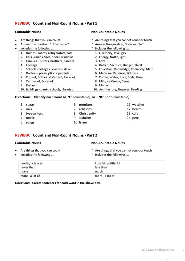 COUNT-NON-COUNT NOUNS worksheet - Free ESL printable worksheets made