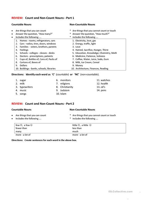 COUNT-NON-COUNT NOUNS worksheet - Free ESL printable worksheets made - count and noncount nouns esl
