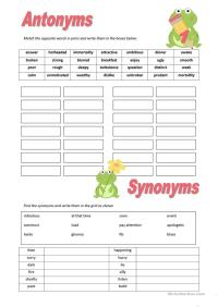 synonym antonym worksheets