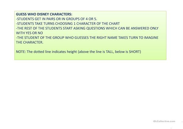 Guess who Disney characters worksheet - Free ESL projectable