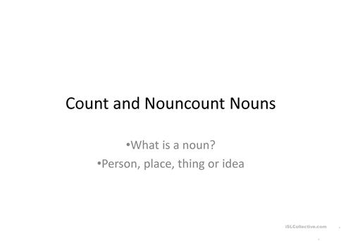 Count and Noncount noun ppt worksheet - Free ESL projectable - count and noncount nouns esl