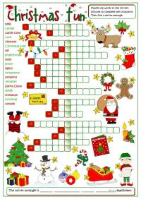 Christmas fun - crossword worksheet - Free ESL printable ...