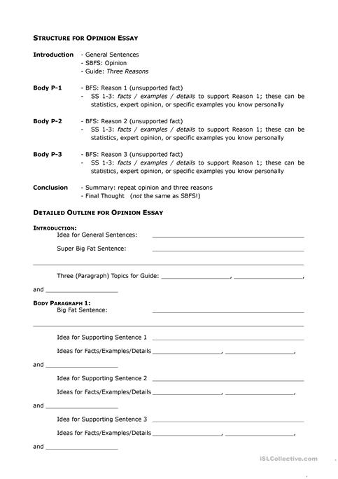 Opinion Essay Outline worksheet - Free ESL printable worksheets made - essay outline