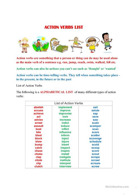 ACTION VERBS LIST A TO Z worksheet - Free ESL printable worksheets - List Of Action Verbs