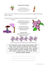 Spring Haiku in English worksheet