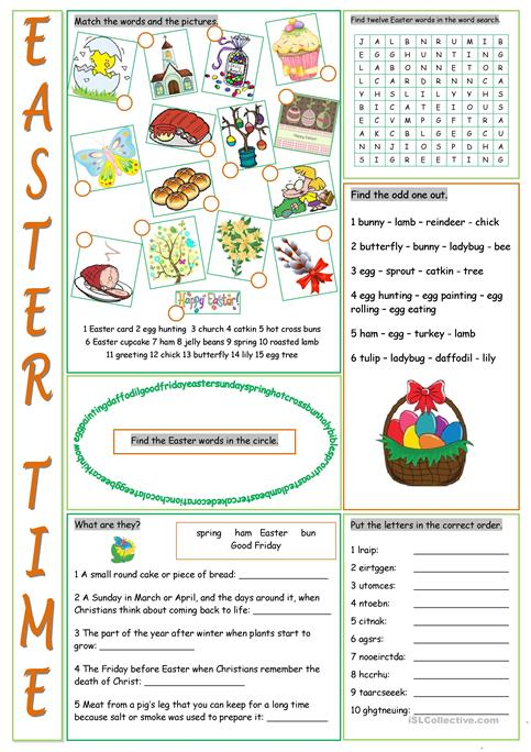 Easter Vocabulary Exercises worksheet - Free ESL printable - free printable religious easter cards