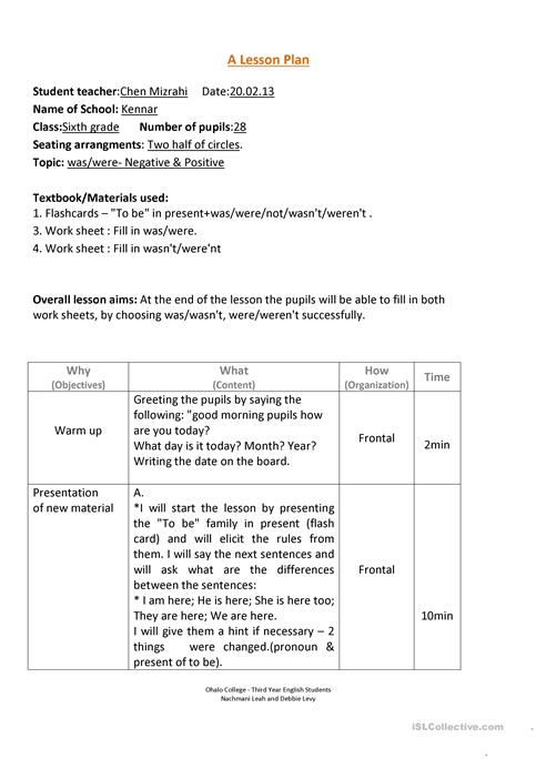 Was/Were lesson plan worksheet - Free ESL printable worksheets made - teacher lesson plan