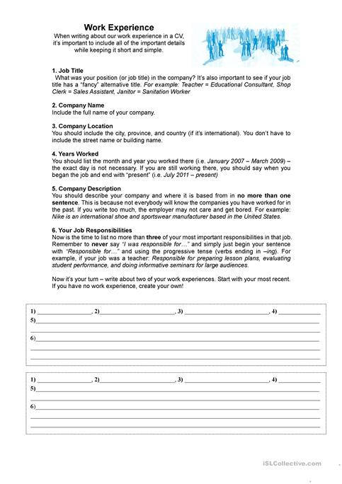 Work Experience for a CV / Resume worksheet - Free ESL printable