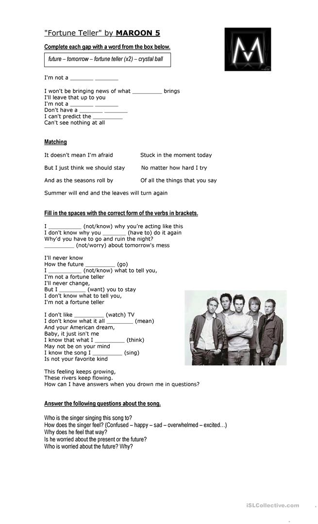 Fortune Teller song (by Maroon 5) worksheet - Free ESL printable
