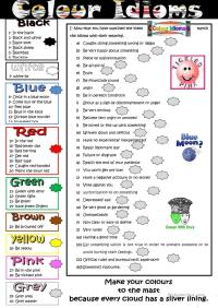 Colour Idioms worksheet - Free ESL printable worksheets ...