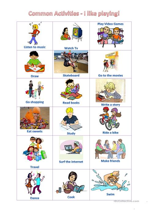 Common activities - What do you like doing? worksheet - Free ESL