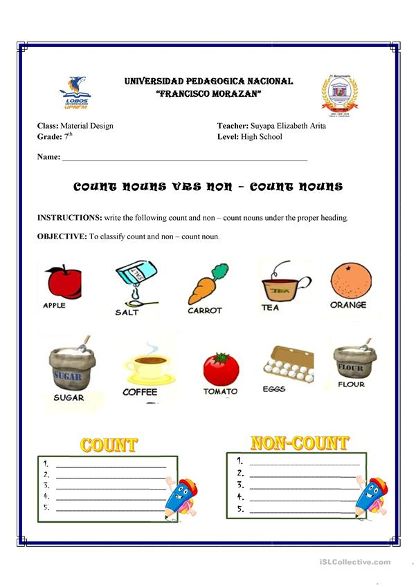 Count and non - Count Nouns worksheet - Free ESL printable