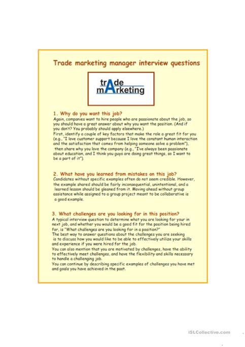 Interview questions and answers for trade marketing worksheet - Free - marketing interview questions