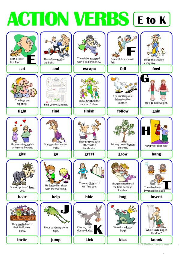 PICTIONARY - ACTION VERB SET (2) - from E to K worksheet - Free ESL