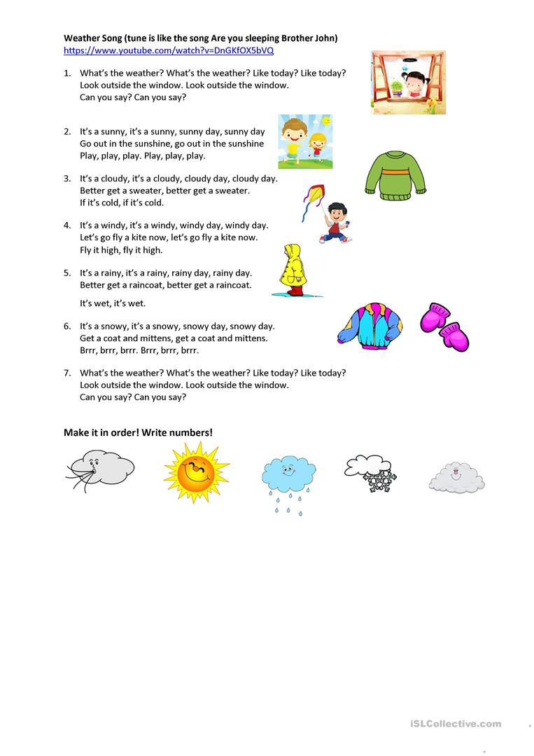 Like Weather What Weather Song Worksheet Free Esl Printable Worksheets Made By