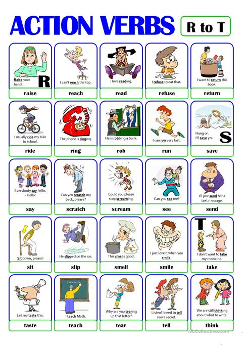 PICTIONARY - ACTION VERB SET (4) - from R to T worksheet - Free ESL - action verbs