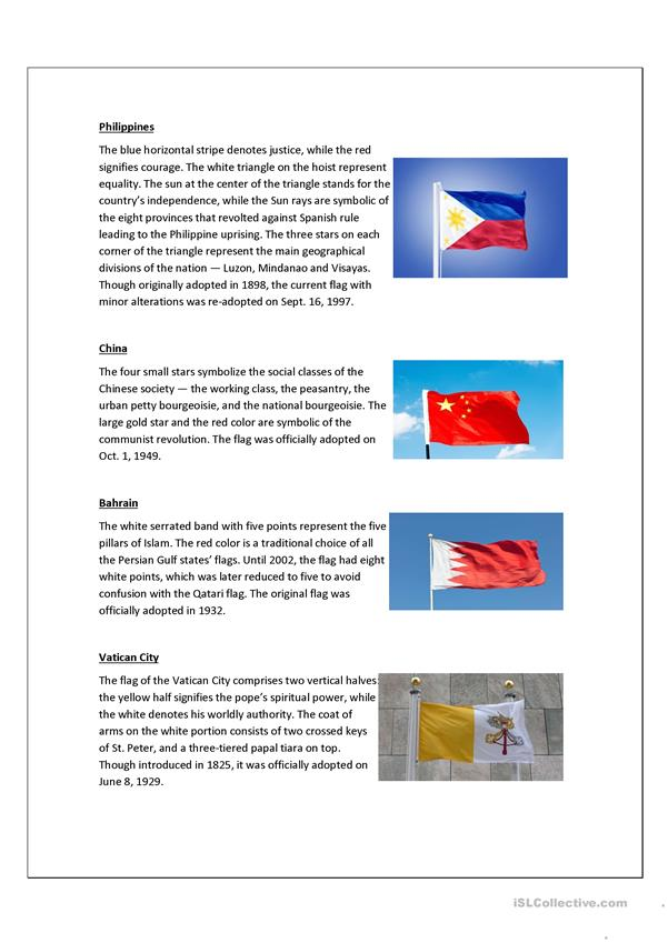 The meaning of flags worksheet - Free ESL printable worksheets made